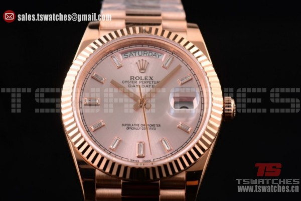 Rolex Day-Date 2836 Auto RG/RG Silver Dial (BP)