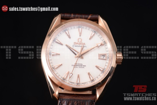 Omega Seamaster Aqua Terra 150 M Co-Axial White Dial RG/LT Brown Leather Strap - 8500 Auto(EF)