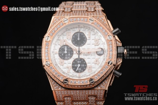 Audemars Piguet Royal Oak Offshore Chrono Seiko VK67 Quartz RG/Diam White Dial