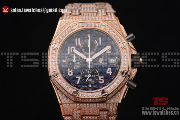 Audemars Piguet Royal Oak Offshore Chrono Seiko VK67 Quartz RG/Diam Blue Dial