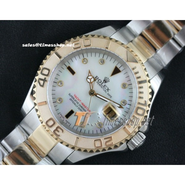 YACHT-MASTER GOLD TWO TONE SHELL DIAL RG/SS - SWISS ETA 2836-2