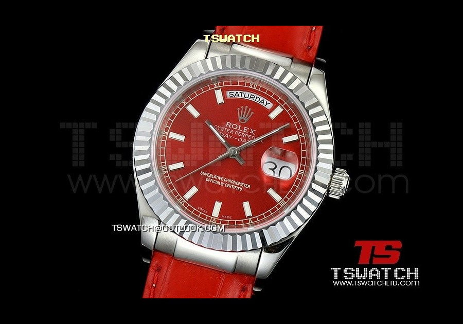 RO14211 - 118139 Day-Date Red Dial SS LT