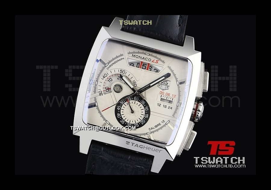 TG14753 - Tag Monaco V6 factory 7750 Casing White Dial SS LT Japan OS Chronograph