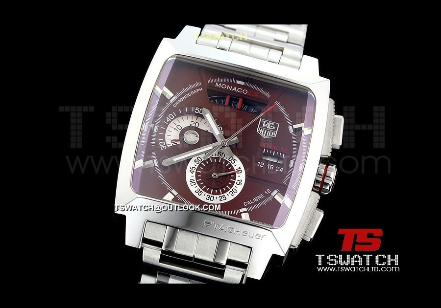 TG14752 - Tag Monaco V6 factory 7750 Casing Brown Dial SS Japan OS Chronograph