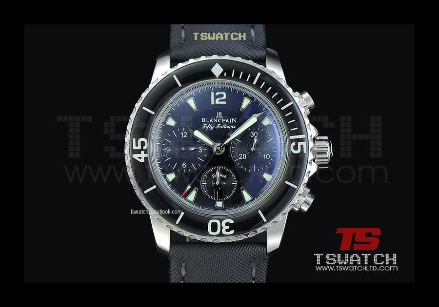 BP16697 - Fifty Fathoms Chrono Black Dial SS A7750