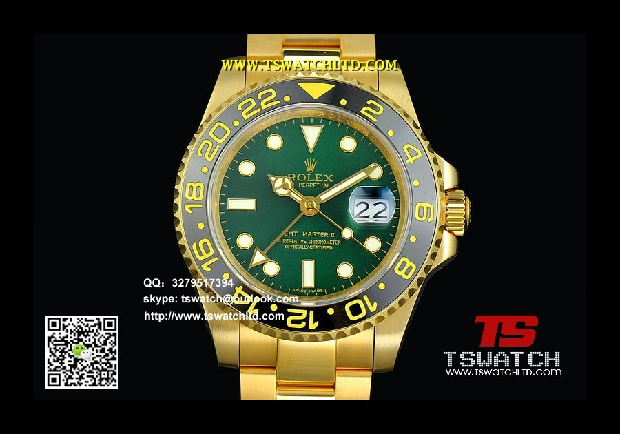 RO17001 - GMT-Master II 116718 LN Green Dial Full Gold 1:1