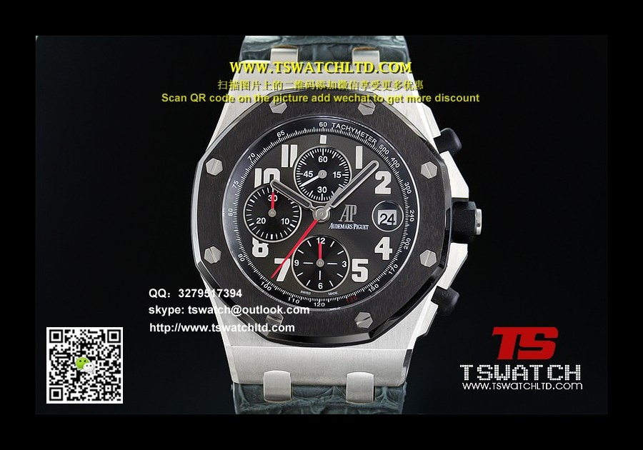 AP17102 - ROO Chrono JF Black Dial Ceramic SS LT A3126(FREE RUBBER STRAP)