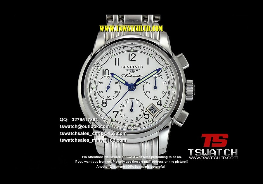 LG17318 - Conquest Classic 38MM White Dial SS A7750