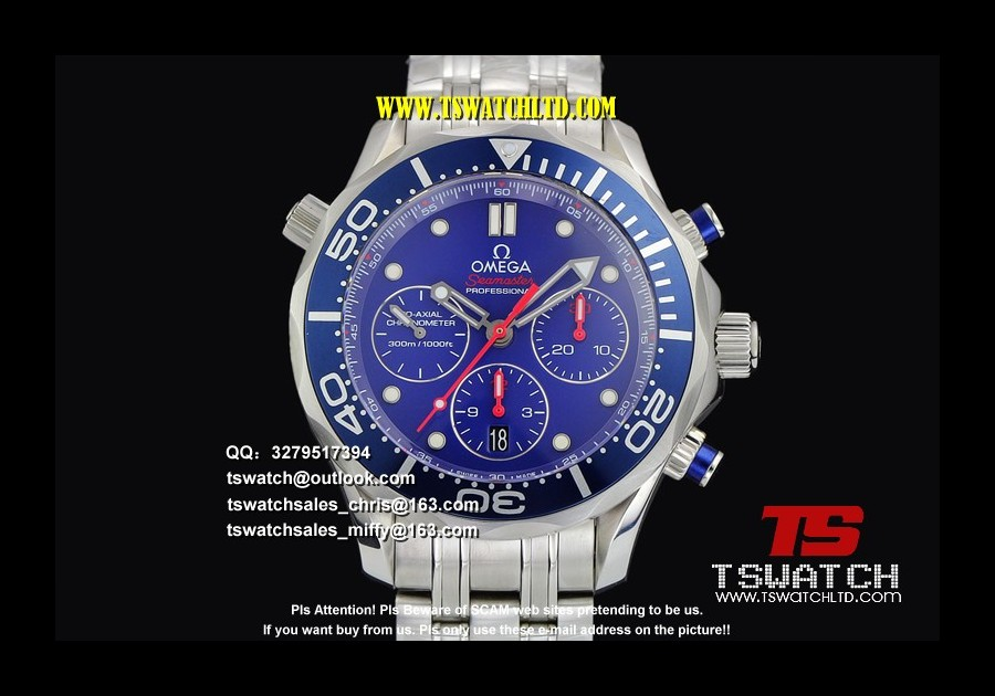 OM17315 - Seamaster Diver ETNZ Limited Edition Blue Dial SS A7753(FREE RUBBER STRAP)