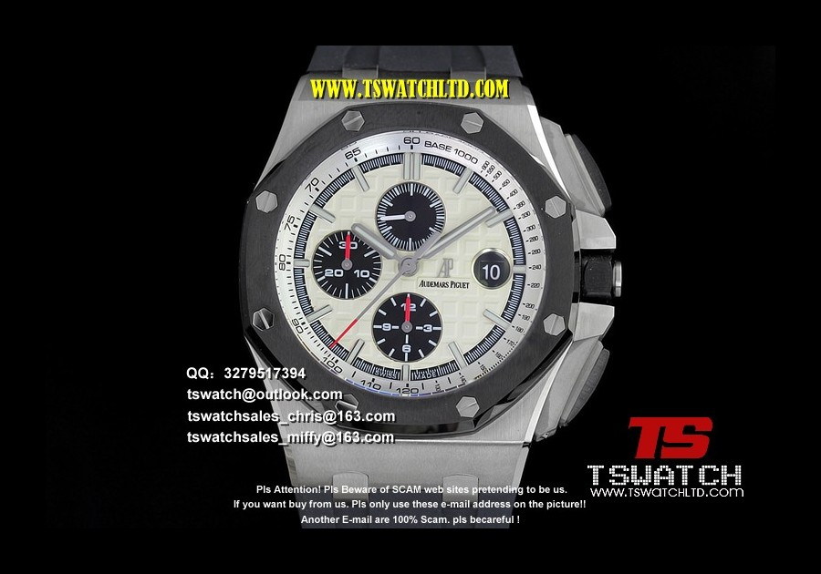 AU17384 - Royal Oak Offshore 44mm SS JF 1:1 Best Edition on Black Rubber Strap A3126