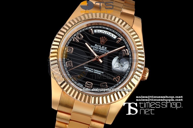 RO7710 - Day-date 41mm Black Dial Full Gold - Asian 21j Automatic
