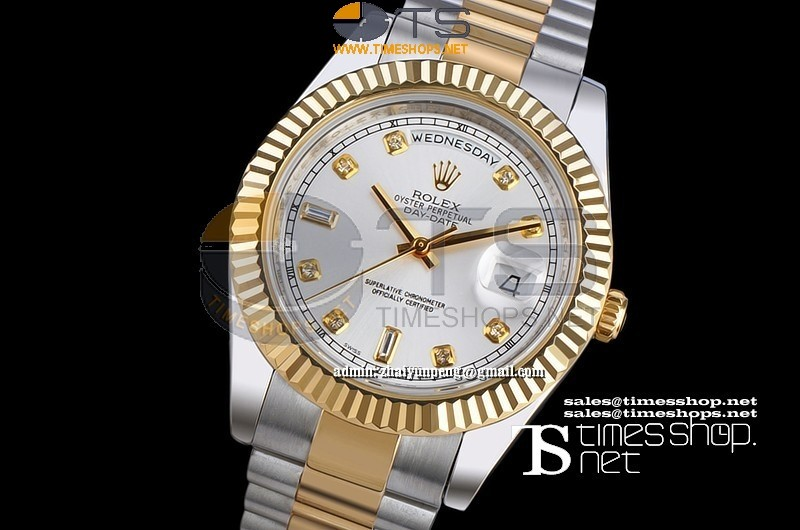 RO7690 - Day-date 41mm Silver Dial Diamond TT YG/SS - Asian 21j Automatic