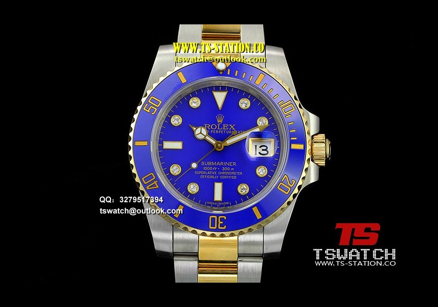 RO17709 - Submariner 116613LB Noob Edition YG Wrapped Blue Diamond Markers