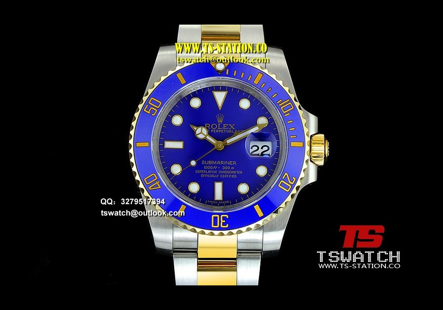 RO17708 - Submariner 116613LB Noob Edition YG Wrapped Blue