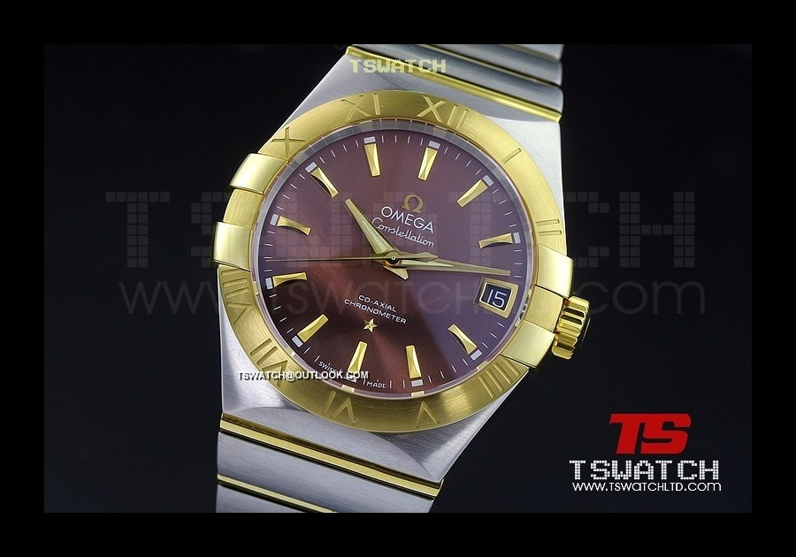 OM15811 - Omega Constellation Co-Axial TT YG Brown Dial 1:1 Best A8500