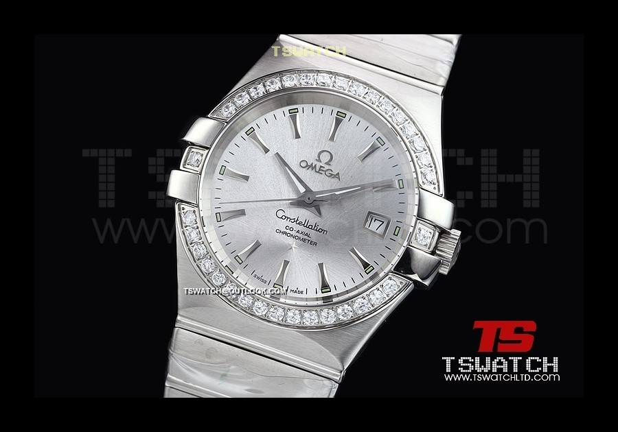 OM15430 - Constellation Co-Axial SS Silver Dial 35MM Diamond Swiss Quartz