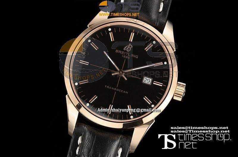 BR0290FO - Breitling Transocean RG/LT Black Dial - Asian 2892 Automatic