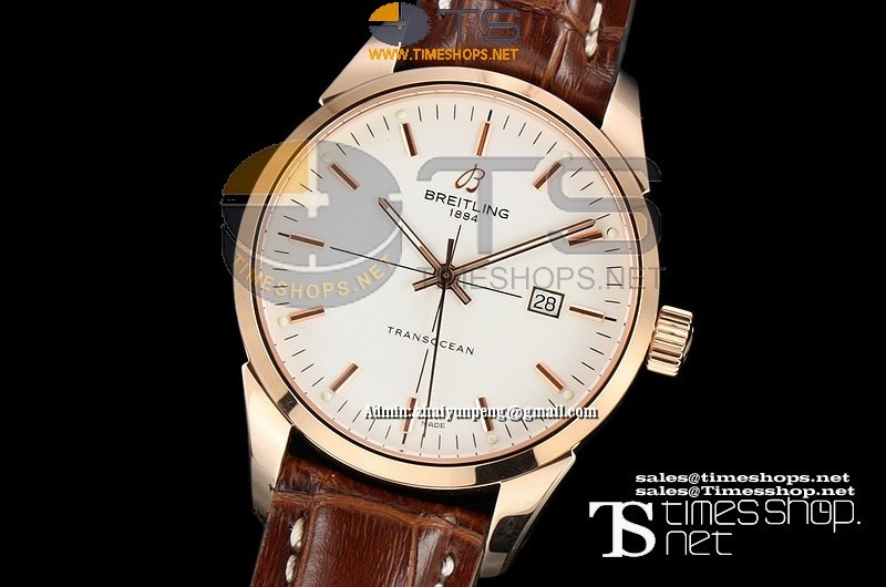 BR0310FO - Breitling Transocean RG/LT White Dial - Asian 2892 Automatic