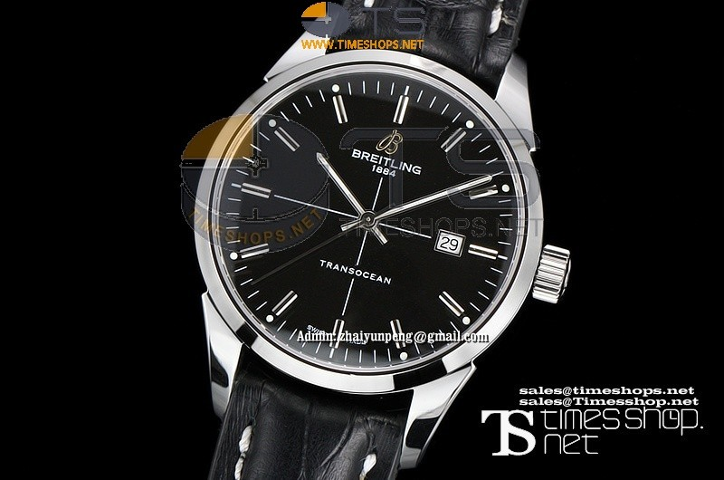 BR0320FO - Breitling Transocean SS/LT Black Dial - Asian 2892 Automatic