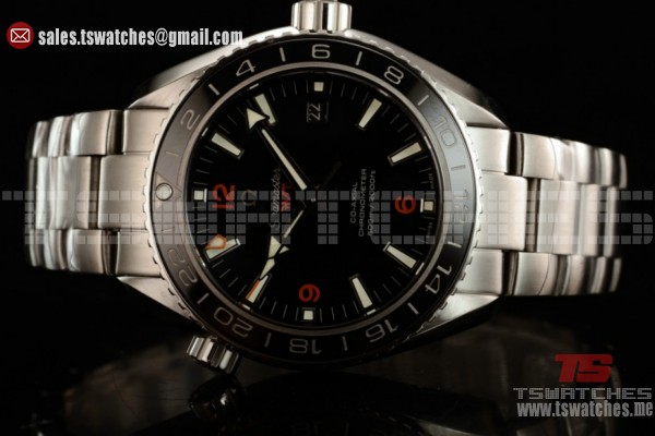 1:1 Omega Seamaster Planet Ocean 600M Co-axial GMT Clone Omega 8605 Auto Black Dial SS/SS(KW)