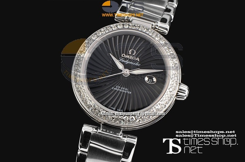 OM6470F - Omega Ladymastic SS/SS Black Dial Diamond - Asian 21J Automatic
