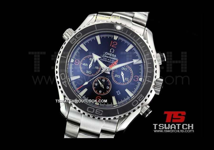 OM14583 - Planet Ocean 007 SS Black Dial Ceramic 48MM Japan Quartz Chrono