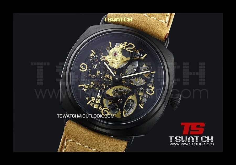 PA13993 - Pam348 Radiomir GMT Skeleton Asian 21J Automatic Black