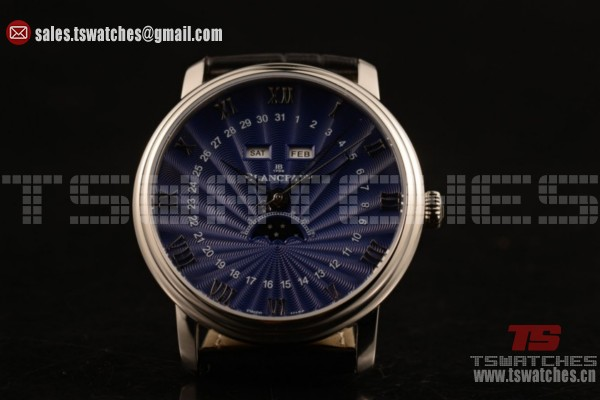 BlancPain Villeret Moonphase & Complete Calendar 9015 Auto Blue Dial SS/LE (AAAF)