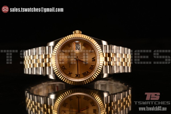 Rolex Datejust 37mm Swiss ETA 2836 Automatic Two Tone with Gold Dial and Roman Markers