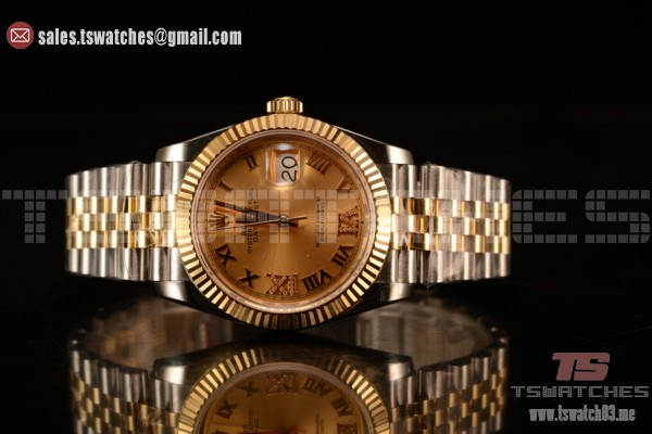 Rolex Datejust 37mm Swiss ETA 2836 Automatic Two Tone with Gold Dial and Roman Diamonds Markers